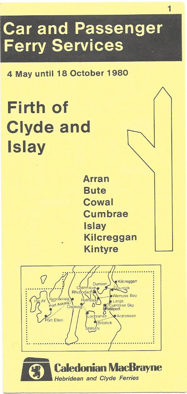 Caledonian MacBrayne - Firth Of Clyde & Islay - timetable summer 1980